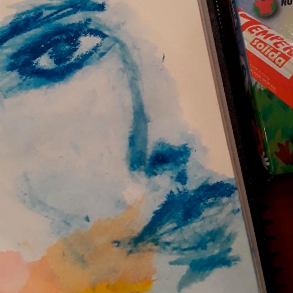 Pintura con agua y pincel